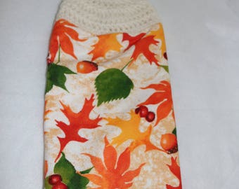 Crochet fall leaves dish towel kitchen acorn orange green yellow brown white