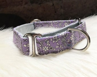 "Adjustable Martingale dog collar ""Eiffel flowers"""