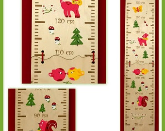 Pink forest animals measurement bar for engraving - up to 150 cm - for one or two children