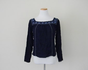 FREE usa SHIPPING vintage bohemian blue embroidered hipster festival shirt hippie ethnic long sleeve rayon square neckline size medium