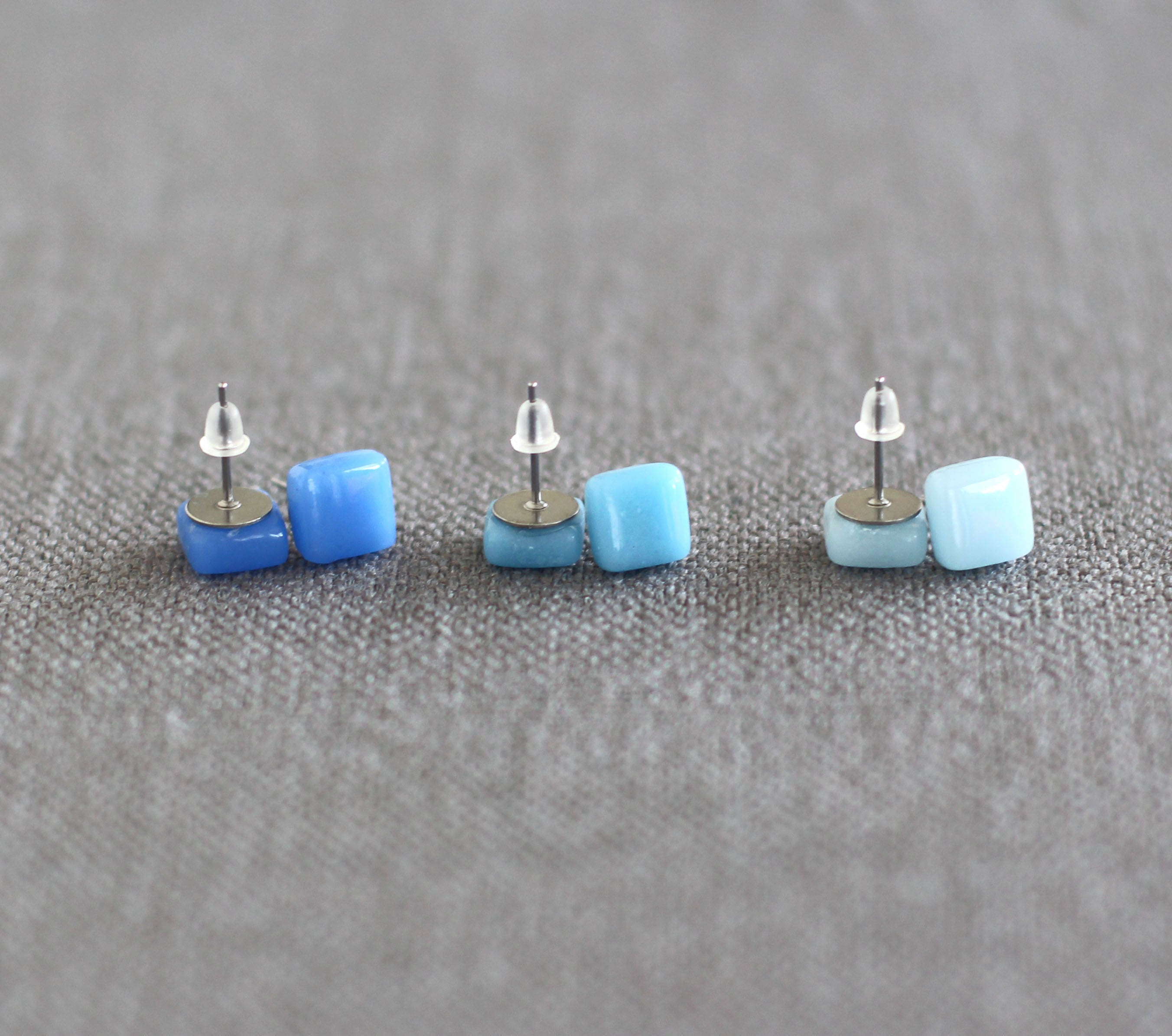 aqua silver stud dichroic product earrings blue sterling glass dark and