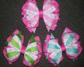 Pink Rose Flowers Handmade Stacked Boutique Bow