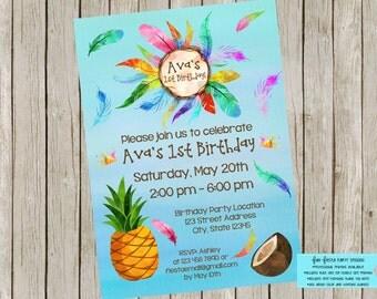 Tropical Carnival themed invitation set