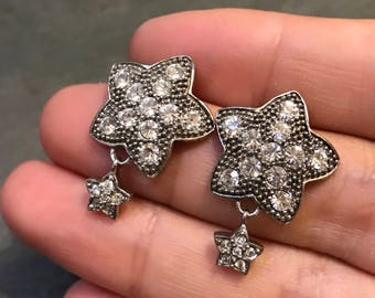 Vintage Sterling silver handmade earrings, solid 925 silver star studs with Swarovski crystal, and star drops, stamped 925