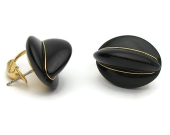 Napier Earrings Glossy Black Enamel and Gold Tone for Pierced Ears - One Piece Post Earrings with Latch Back Signed Vintage Designer Jewelry