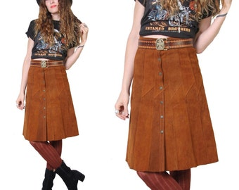 70s Suede Midi Skirt - Womens High Waisted Skirt - 1970s - Hippie GoGo Bohemian - Leather Skirt - Button Down - Snap Buttons - Petal Skirt