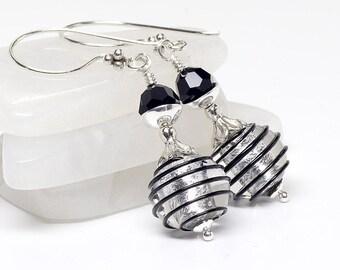 Silver, Black, Venetian Murano Glass Earrings, Sterling Silver, Italian Artisan, Spiral, Lampwork Earrings, Dangle, Drop Earrings