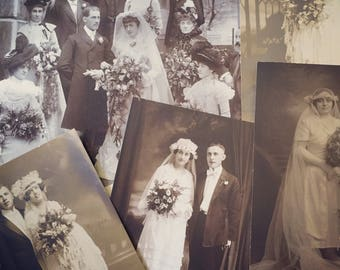 7 Gorgeous wedding photographs, each in a vintage frame, ready for your vintage wedding decor. Early 1900's.