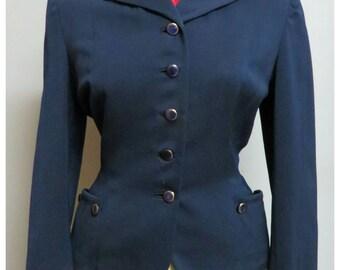 Vintage 1940/50 dark blu gabardine jacket size S/M