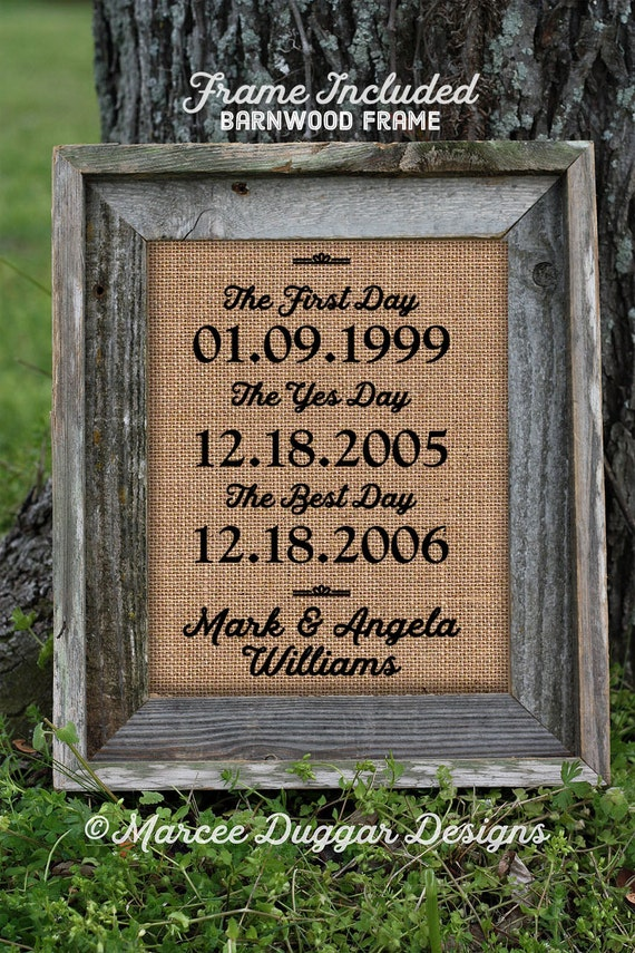 Framed Wedding Gift | Anniversary Gift| Couples Gift | The First Day The Yes Day  | Personalized | Burlap Print Valentine's Day Gift | 259
