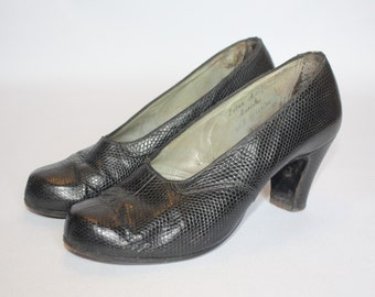 1940's Black Leather Lotus Court Shoes - UK 6