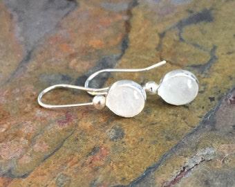 White Moonstone Bezel Hook Earrings