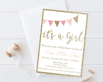 Baby Shower Invitation, It's a Girl baby shower invitation,  Pink and Gold Glitter Banner It's a Girl Baby Shower Invitation,