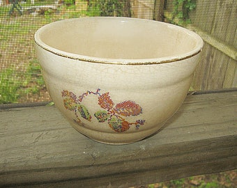 Very Old Pottery Bowl, 5 Inch Diameter, 3 1/4 Inches Tall, Rustic Bowl, Shabby Chic Bowl, Ivory With Floral Design,