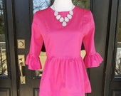 Women's peplum top the Carolina top xlarge only in hot pink pique custom made by Collyn Raye