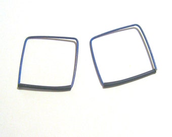 Black and blue titanium square earrings Square hoop earrings Hypoallergenic earrings