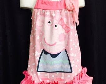 Peppa Pig pink Ruffle pillowcase Tshirt Dress - Perfect for Photos, Peppa Pig birthday tshirt - size 2-4