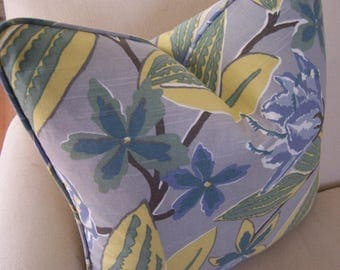 CUSTOM PIPING COLORS! Tropical Floral Gray Linen Pillow with Piping, Decorative Pillows, Designer Pillows, Lumbar Pillows, Gray Pillows,