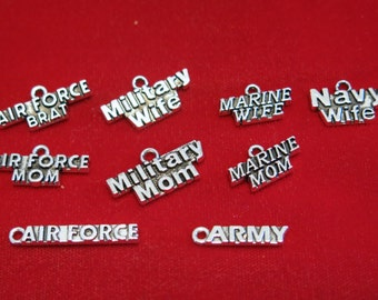 "9pc set ""military"" charms in antique silver style (BC1166)"