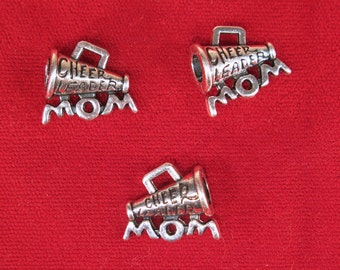 "BULK! 15pc ""Cheerleader mom"" charms in silver style (BC1172B)"