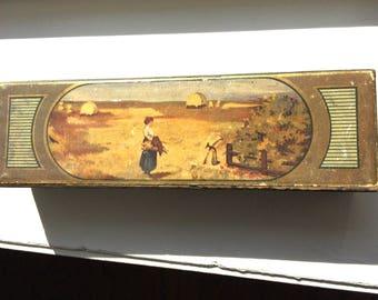 Vintage Rustic Wood Pencil Box
