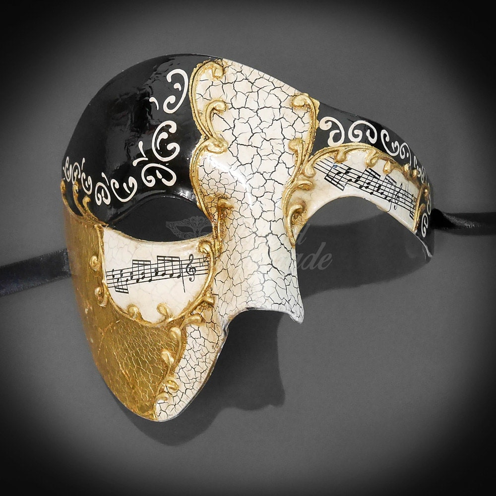 Half Men Face Mask Musical Venetian Masquerade Mask Phantom