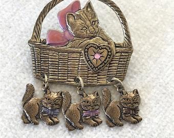 Vintage Basket of Cat and kittens brooch