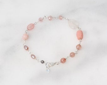 Pretty in Pink Bracelet Sterling Silver Hand Wire Wrapped with Heart Charm