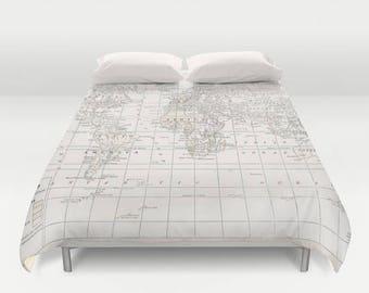 Cream World Map Duvet Cover - bed - bedroom, travel decor, cozy soft, white and cream, winter, warm, dorm room decor, wanderlust