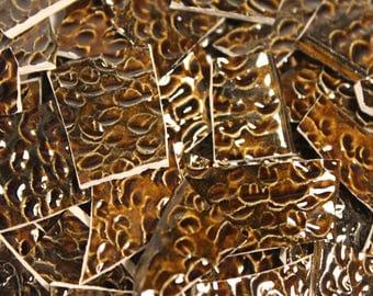 Brown Mosaic Tiles - 130 Mosaic Pieces - Mosaic Supplies - Ceramic Tiles - Item # ST- 5094 - Brown Textured Ceramic Mosaic Tiles - Tesserae