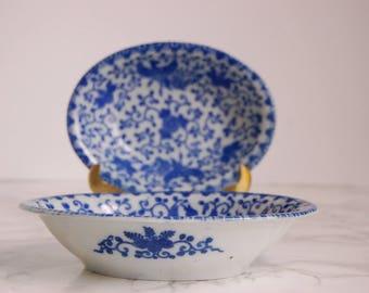 Blue and White Oval Bowls  - Japanese Porcelain Phoenix Bowls - Chinoiserie Decor