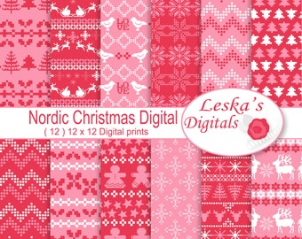 """Pink Christmas Digital Papers """"NORDIC DIGITAL PAPER"""" Christmas Digital Paper, pink, red and white christmas patterns, holiday papers"""