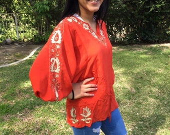 Embroidered silk blouse,small,Boho blouse,Orange, satin,top,Gold embroidery