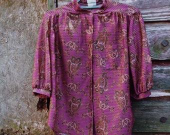 Vintage Purple Paisley Striped  Blouse
