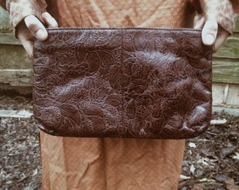 Vintage Leather Tooled Clutch