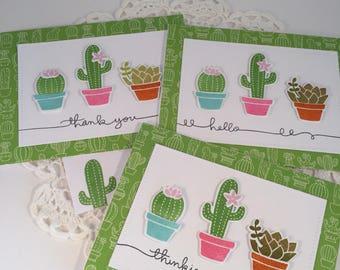 Cactus/Succulent  Note Cards set of 3
