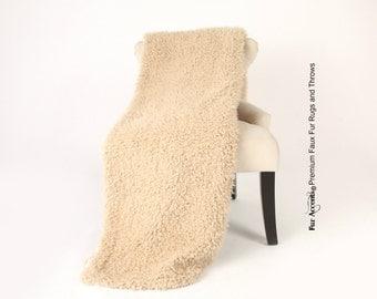 Luxurious Faux Fur Throw Blanket  - Light Tan Brown Short Fleece Llama Lambskin - Silky Soft Minky Cuddle Fur Back - Fur Accents Designs USA