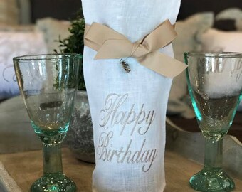 Birthday Linen Wine Bag Happy Birthday Wine Bag