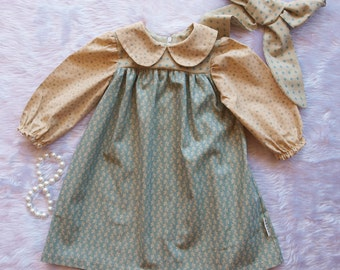 Baby girls dress, Girls dress, Baby girls dress size 0, Girls winter dress, Girls dress size 1, Girls vintage inspired dress, FREE HEADBAND.