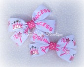 Princess Clippies, Pink Princess Bow, Small Princess Bow, Princess Pigtails, Pink & White Bow, Small Boutique Bow, Sparkly Princess Bow