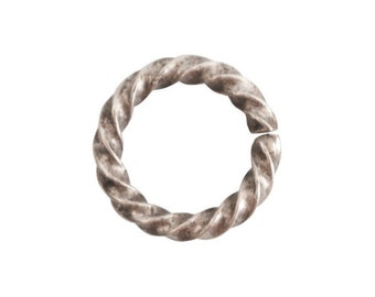 Jump Ring - Large Rope - Antique Silver (plated) - ONE