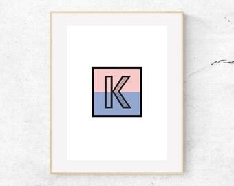 Modern Colorblock Monogram Print - Letter K - Rose Quartz and Serenity Colorblock // DIGITAL DOWNLOAD