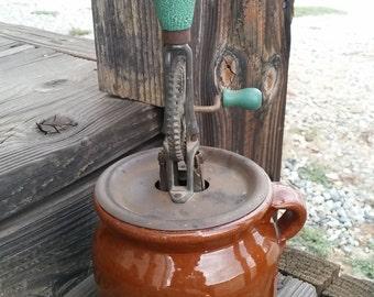 Stoneware Pottery Redware Crock Egg Beater