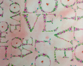 One Half Yard Fabric Material - Floral LOVE
