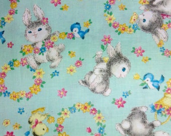 SALE - One Half Yard of Fabric Material - Bunnies at Play, Mint Green