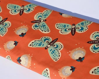 Organic cotton orange fireflies fireflies coral 100% organic