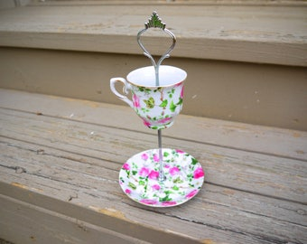 Pink Flowers 2 Tier - Tea Cup Cake Stand Jewelry Holder Upcycled Vintage Tea Sets