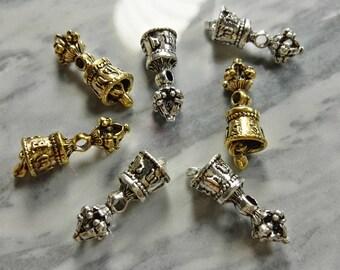 10pcs  Buddha Bell  Beads  , Temple Bell beads , Bell beads  , Yoga beads - 25mm x 8 mm