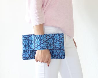 Wallet african fabric blue, wrist wallet, batik fabric, african clutch, ethnic clutch bag, pouch bag, purse, mylmelo,african wallet