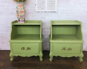AVAILABLE: Green Painted French Provincial Nightstands